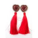 Brincos Fashion Mood Corações Pompom - Vermelho