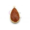 Pendente Pedra Semi-Preciosa Lagrima Pedra Sol - Dourado (33x16mm)