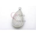Pendente Pedra Semi-Preciosa Lagrima Quartzo Branco Sujo - Prateado (33x16mm)