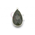 Pendente Pedra Semi-Preciosa Lagrima Jade Verde Seco - Prateado (33x16mm)