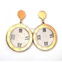 Brincos Aço Relógio - Dourados e Prateados