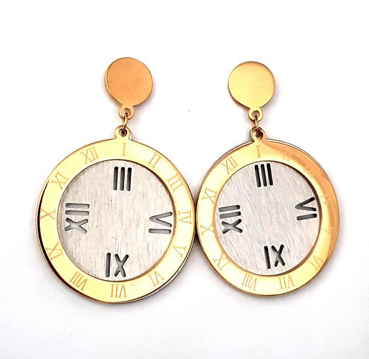 1fc206b1106 Brincos Aço Relógio - Dourados e Prateados