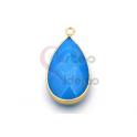Pendente Pedra Semi-Preciosa Lagrima Agata Azul Claro - Dourado (33x16mm)