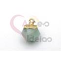 Pendente Pedra Semi-Preciosa Mini Bola Irregular Amazonite - Dourado (8x8mm)