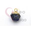 Pendente Pedra Semi-Preciosa Mini Bola Irregular Lapis Lazuli - Dourado (8x8mm)