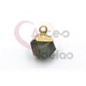 Pendente Pedra Semi-Preciosa Mini Bola Irregular Labradorite - Dourado (8x8mm)