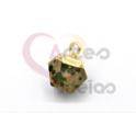 Pendente Pedra Semi-Preciosa Mini Bola Irregular Dalmata - Dourado (8x8mm)