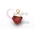 Pendente Pedra Semi-Preciosa Mini Bola Irregular Cornalina - Dourado (8x8mm)