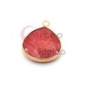 Pendente Pedra Semi-Preciosa Lagrima Agata Strawberry - Dourado (21x19mm)