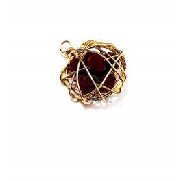 Pendente Ninho de Cristais Bordeaux - Dourado (20mm)