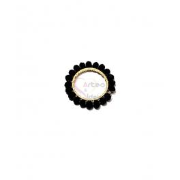 Pendente Aro de Cristais Pretos - Dourado (20mm)