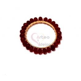 Pendente Aro de Cristais Bordeaux - Dourado (25mm)