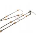 Fio Aço Inox Completo Malha Snake com Bolinhas (4mm) - Prateado e Dourado [45cm]
