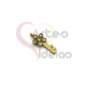 Pendente Latão Chave Brilhantes - Dourado (12x7mm)