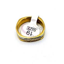Anel Aço Inox Estilo Aliança [28665] - Prateado e Dourado