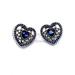 Brincos Fashion Mood Coração - Azuis