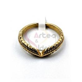 Anel Aço Inox Folha Dupla - Dourado