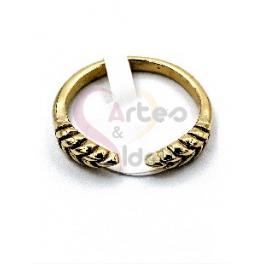 Anel Aço Inox Mini Folha Dupla - Dourado