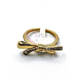 Anel Aço Inox Laço - Dourado