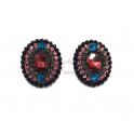 Brincos Fashion Mood Ovais - Rosa, Azul e Preto
