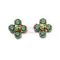 Brincos Fashion Mood Flor 4 Pétalas - Verde Opalino