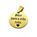 Pendente Aço Inox «Amor para a vida toda» - Dourado (20mm)