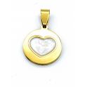 Pendente Aço Inox Coração Resina - Dourado (17mm)