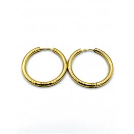 Brincos Aço Argolas Lisas Encaixe - Dourados (24mm)