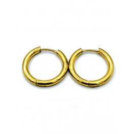 Brincos Aço Argolas Lisas Encaixe - Dourados (20mm)
