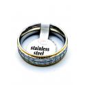 Anel Aço Inox Estilo Aliança [28747] - Prateado e Dourado