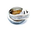 Anel Aço Inox Brilhantes Duplo Entrançado - Prateado e Dourado