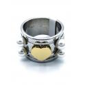 Anel Aço Inox Coração Perolas - Prateado e Dourado