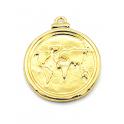 Pendente AQ Medalha Imperio Romano Mapa Mundo - Dourado (18mm)