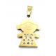 Pendente Aço Inox Menina Bling - Dourado (20x16mm)