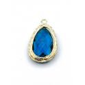 Pendente Latão Lagrima Azul Petroleo - Dourado (23x14mm)