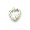 Pendente Latão Coração Cristal - Dourado (17x9mm)