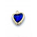 Pendente Latão Coração Azul - Dourado (17x13mm)