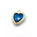 Pendente Latão Coração Azul Petroleo - Dourado (17x9mm)