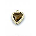 Pendente Latão Coração Castanho - Dourado (17x9mm)