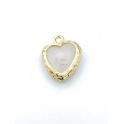 Pendente Latão Coração Branco - Dourado (17x9mm)