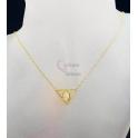 Fio Aço Inox Triângulo com Oval Brilho - Dourado