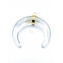 Pendente Meia Lua Cristal Aço Inox Dourado - Translucido (37mm)