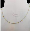 Fio Aço Inox Completo Malha Oca Bolinhas Douradas - Prateado [45cm]