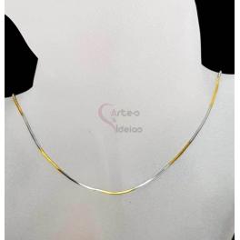 Fio Aço Inox Completo Snake Bi-Color - Prateado e Dourado [45cm]