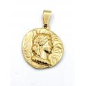 Pendente Aço Inox Medalha Irregular Imperio Romano Busto - Dourado (22mm)