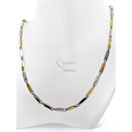 Fio Aço Inox Completo 316 L Elo Rectangular (15x3mm) - Prateado e Dourado [53cm]
