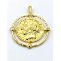 Pendente AQ Medalha Imperio Romano Aro Busto - Dourado (30mm)