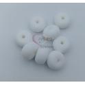 Pack Contas Silicone Donnuts 14x8mm - Branco (8 contas)