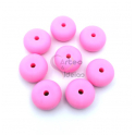 Pack Contas Silicone Donnuts 14x8mm - Rosa (8 contas)