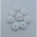 Pack Contas Silicone Achatadas 12x6mm - Branco (8 contas)